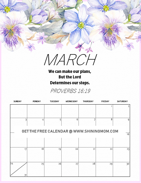 free printable March 2019 calendar beautiful