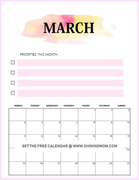 free printable March 2019 calendar modern minimalist