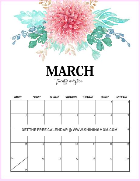 March 2019 calendar floral