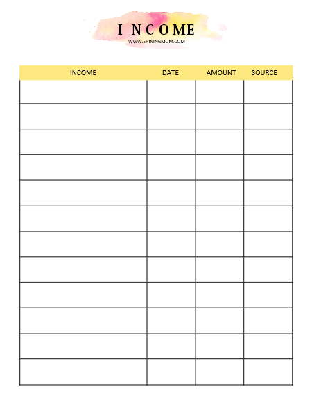 income tracker printable