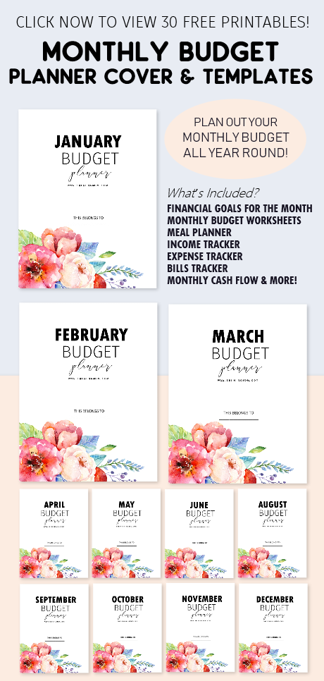 free monthly budget planner cover and template