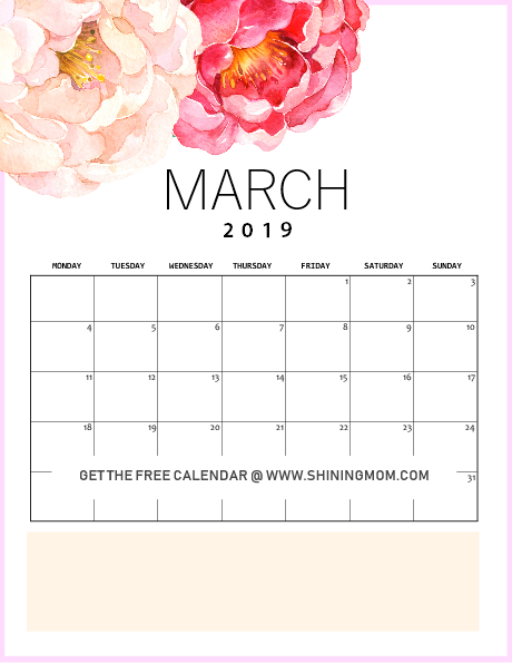 free printable March 2019 calendar floral