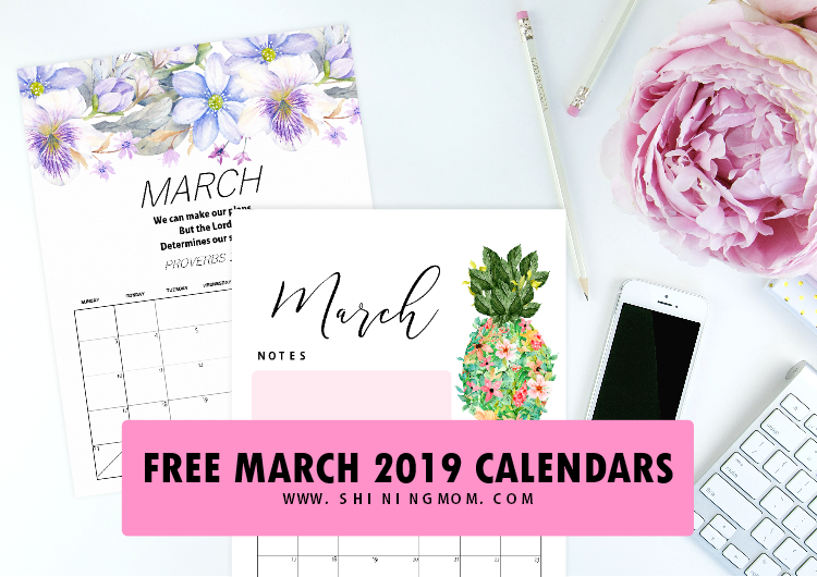 free printable March 2019 calendar