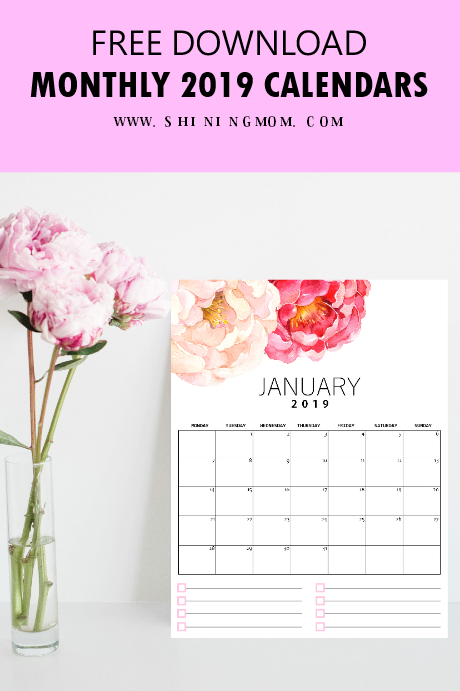 Free monthly calendar 2019