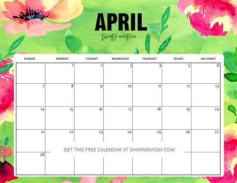 Free Printable April 2019 Calendar Planners: 16 Awesome ...