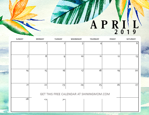 Free Printable April 2019 Calendar Planners 16 Awesome Designs