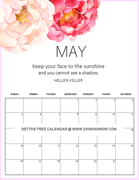 May 2019 calendar motivational