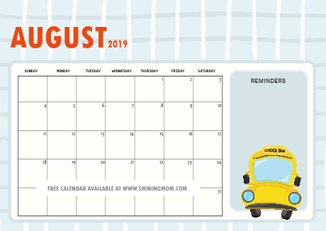 august 2019 calendar for school kids