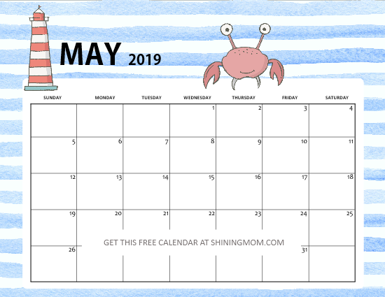 free printable May 2019 calendar cute