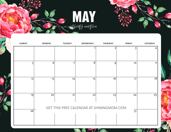 Free Printable May 2019 Calendar: 15 Awesome Designs!