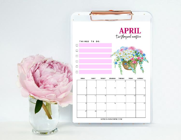 free printable April 2019 calendar