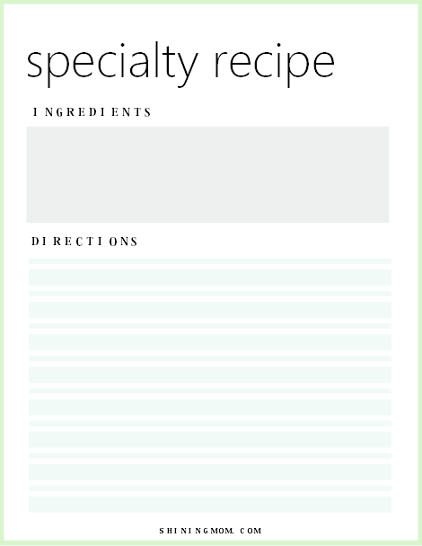 recipe planner printable