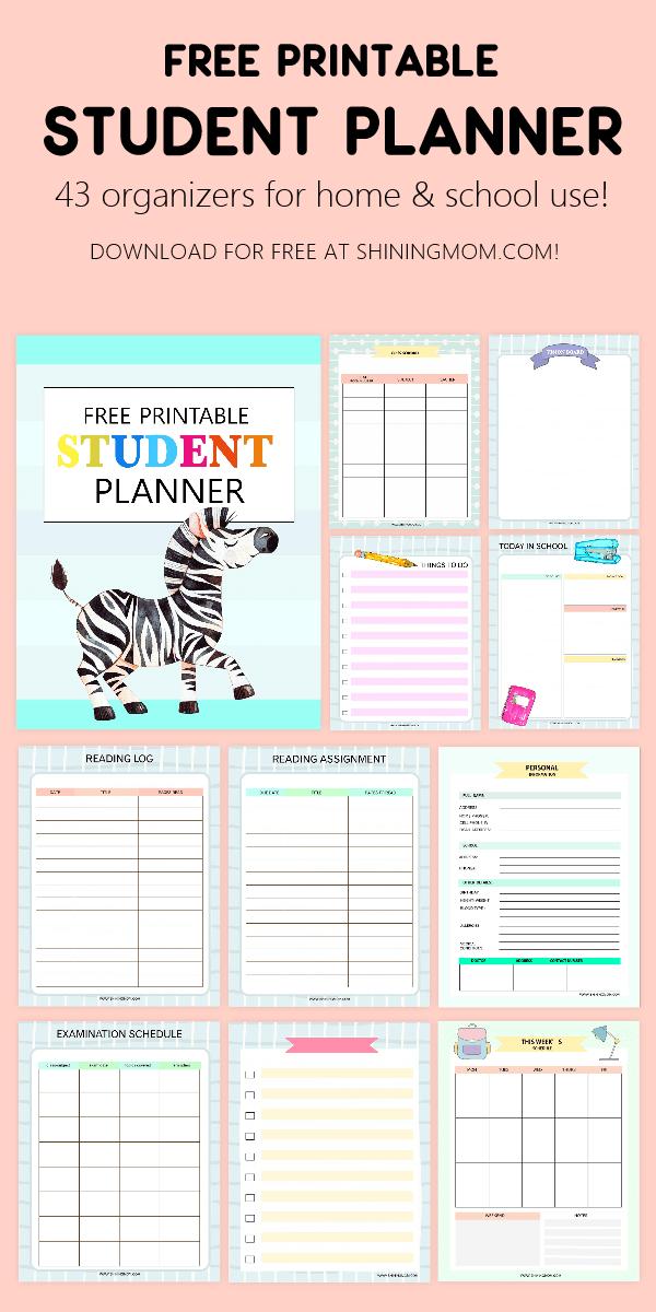Free School Planner: 43 Student Organizers + Monthly Calendar!