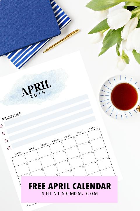 April 2019 calendar printable