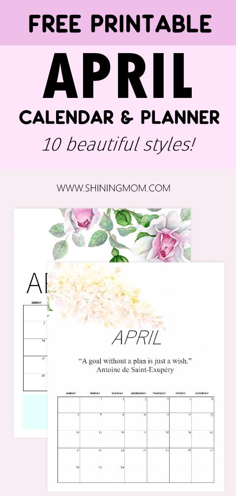April 2019 calendar printables free