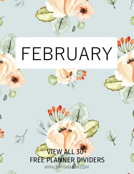 February planner printable divider