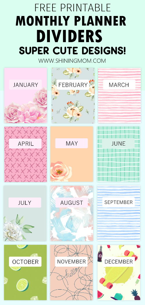 printable monthly planner divides free