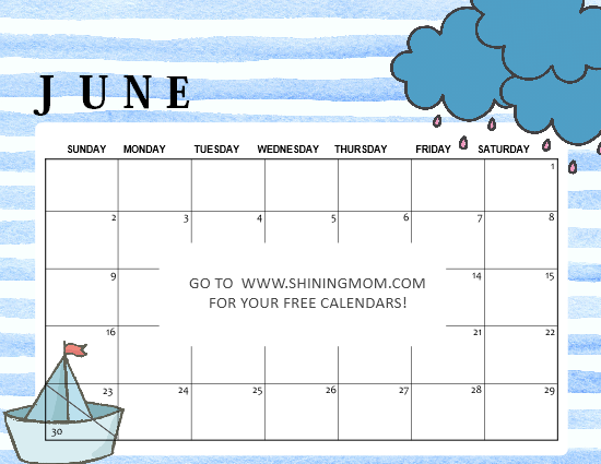 free printable June 2019 calendar cute for kids