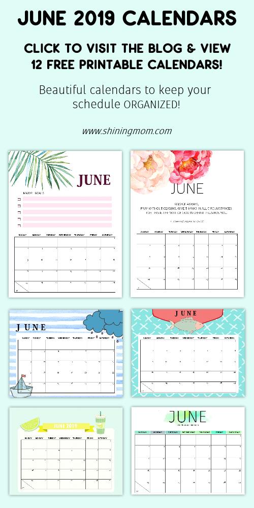 June 2019 calendar free printables