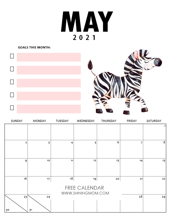 May 2021 calendar kids