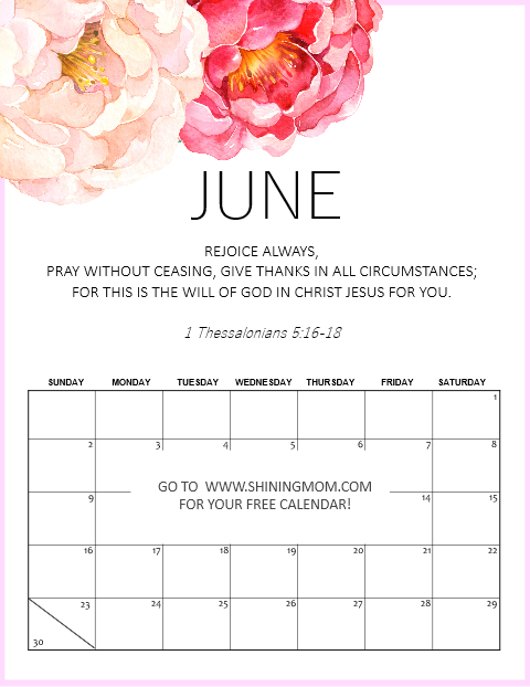 printable June 2019 calendar with Bible verse