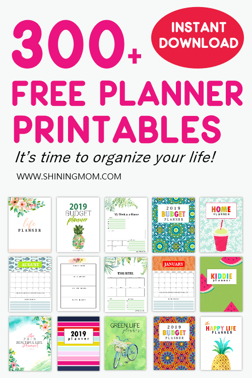 View this list pack of free planner printables that I love and personally use to keep my whatabouts orderly. I've also included Shining Mom's most downloaded planners in the list! #freeplanners #planners #freeprintables #shiningmomplanners