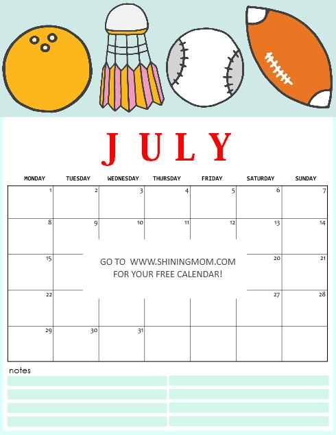 free printable July 2019 calendar for kids