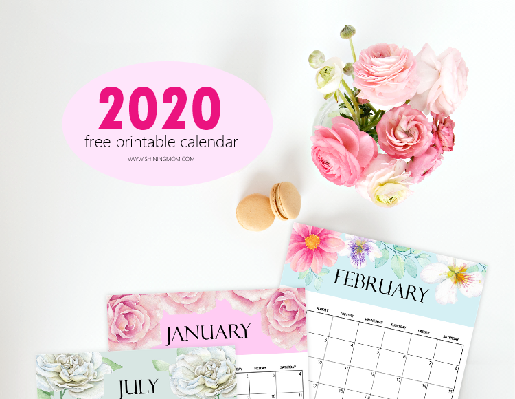 Cute 2020 Printable Calendar FREE Calendar 2020 Printable: 12 Cute Monthly Designs to Love!