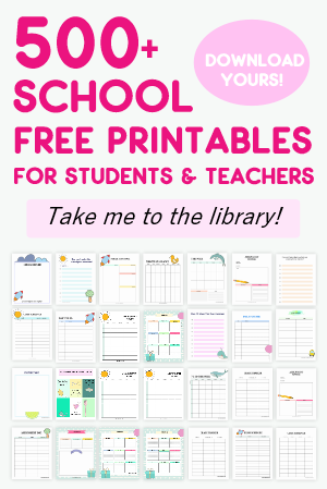 This huge library of student binder and teacher binder free printables includes almost every printable you need for school. View the entire library! #school #student #teachers #freeprintables