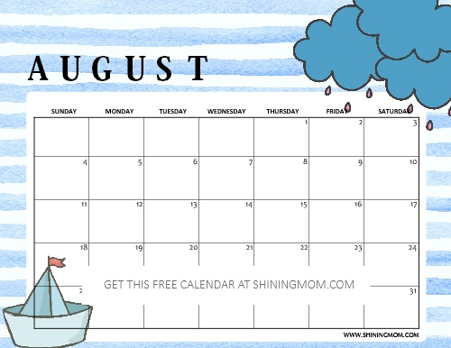 picture relating to Free August Calendar Printable referred to as Free of charge Printable August 2019 Calendar: 16 Desirable Strategies!