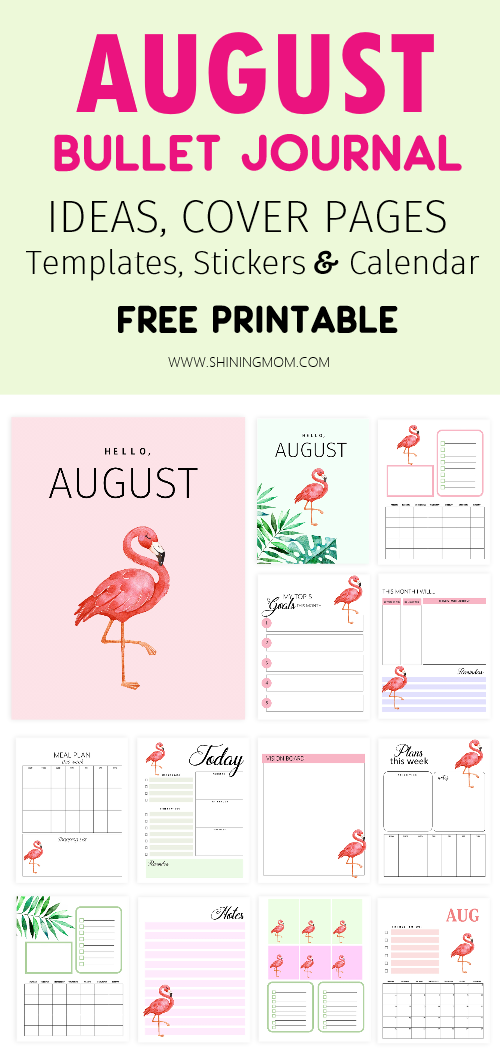free printable August Bullet Journal and Planner