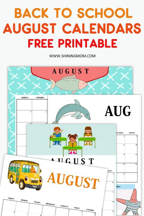 August Calendar for school kids free printable