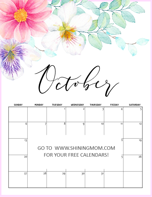 October 2019 calendar printable in pretty floral