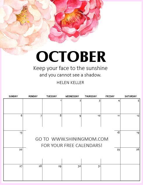 Free Printable October 2019 Calendar: 16 Fantastic Designs!
