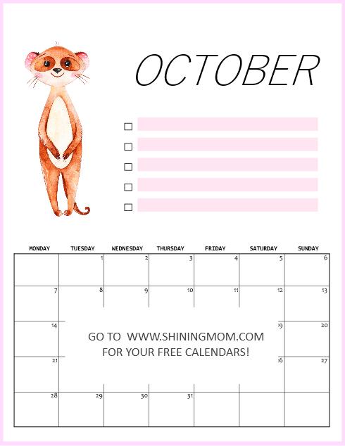 October 2019 calendar free printable