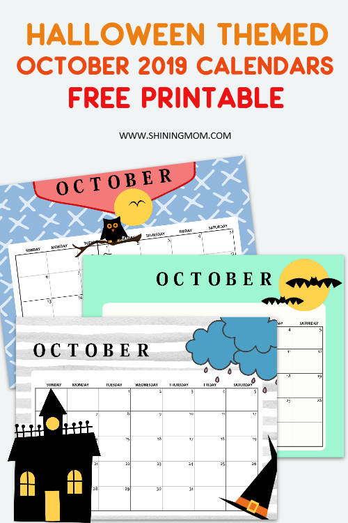 Halloween October 2019 calendar free printable