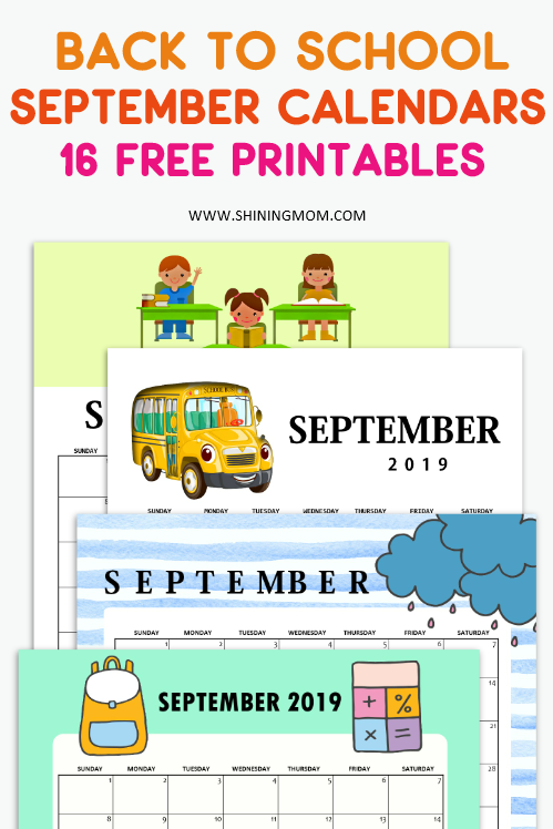 September 2019 calendar for school kids