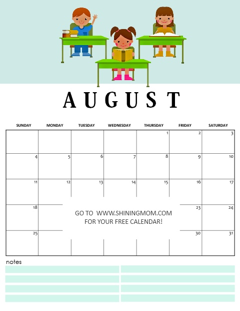 free printable August 2019 calendar for back to school