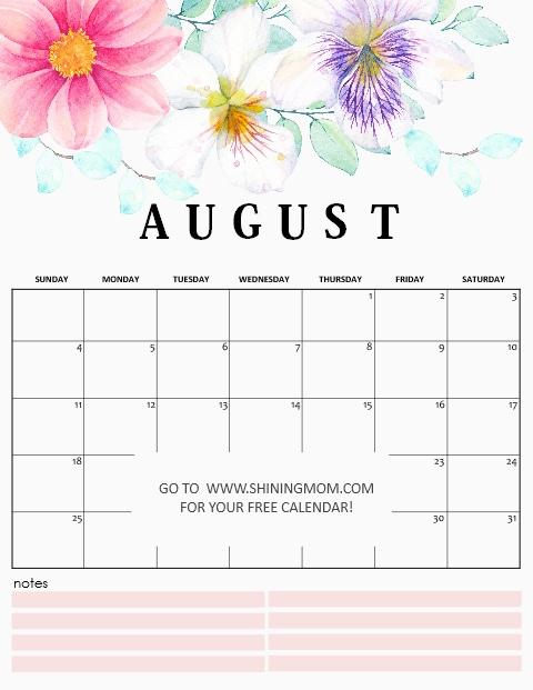 free printable August 2019 calendar in beautiful floral