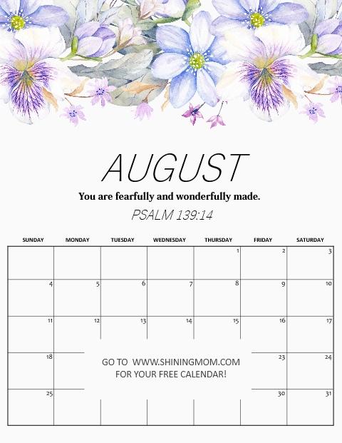 free printable August 2019 calendar motivational