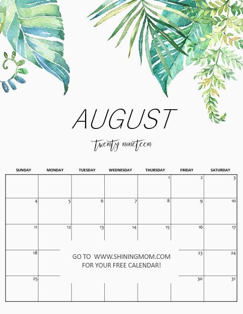 August 2019 Calendar.Free Printable August 2019 Calendar 16 Beautiful Designs