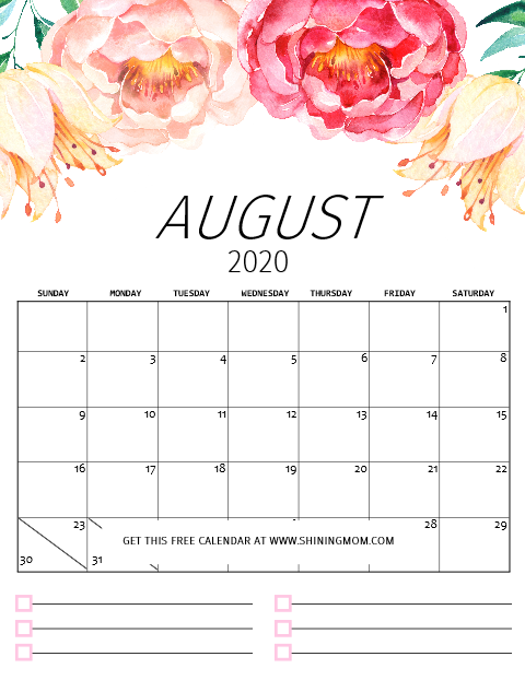 August printable calendar 2020