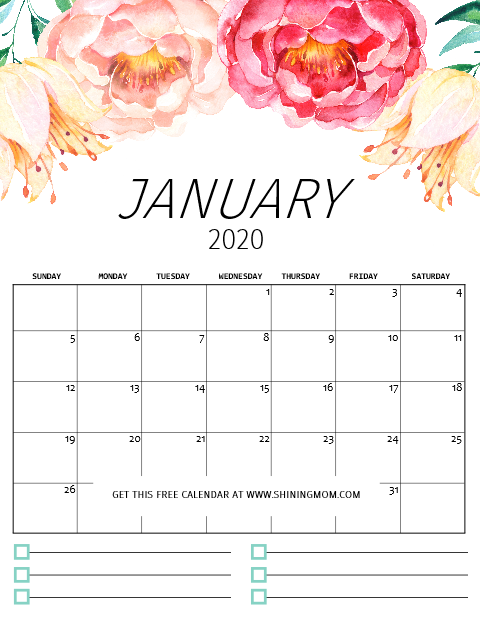 graphic regarding Free Printable 2020 Calendar identify Totally free Printable Calendar 2020 Inside of Fairly Florals with Notes!