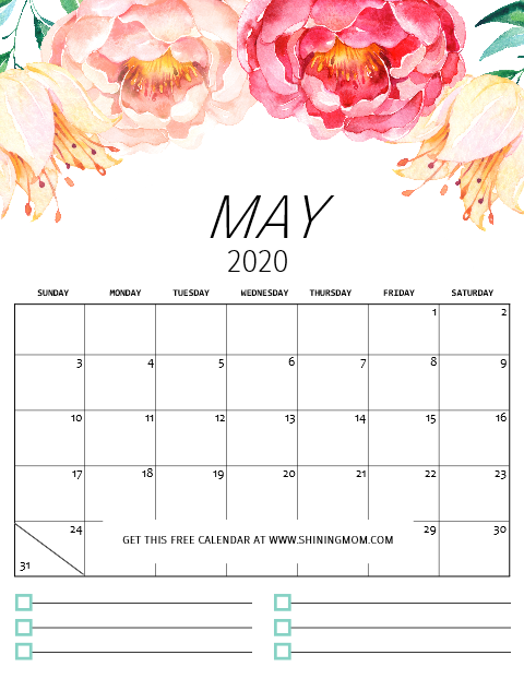 May 2020 Calendar Printable.Free Printable Calendar 2020 In Pretty Florals With Notes