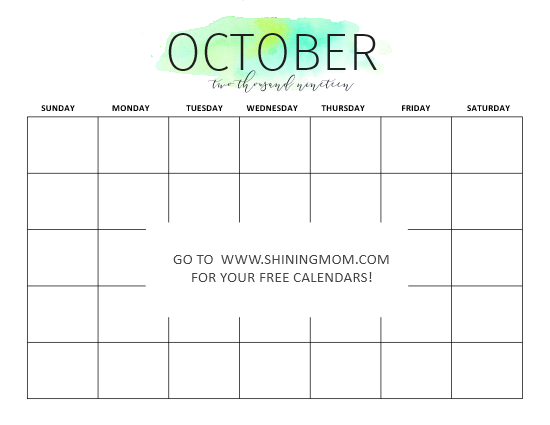 October calendar free printable blank