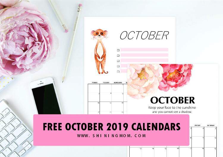 free printable october 2019 calendar  16 fantastic designs