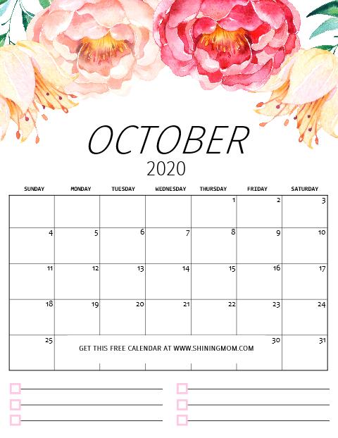 October printable calendar 2020