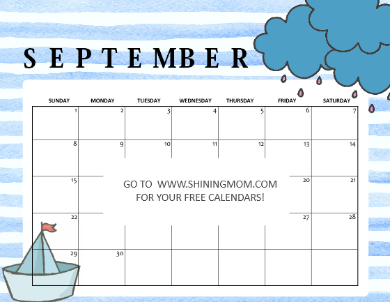 cute free printable September 2019 calendar for kids