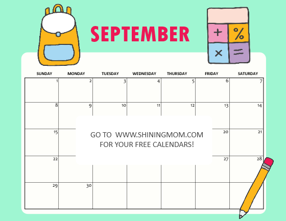 kids calendar September 2019 free printable