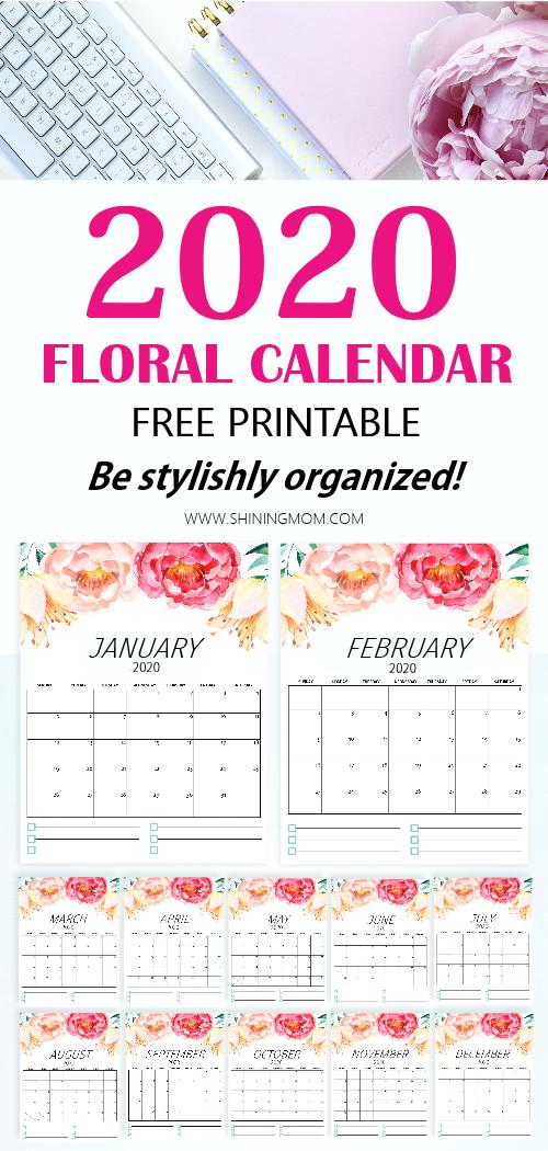 free printable calendar 2020 floral